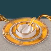 8pcs / lot 중국어 클래식 스타일 식기 세라믹 밥 그릇 저녁 식사 접시 수프 숟가락 젓가락 홀더 찻잔 소스 접시 주방 그릇