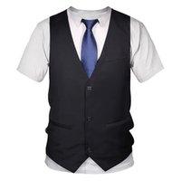 Gömlek Komik Sahte Takım Tuxedo Papyon 3D Baskılı Gömlek Erkekler Yaz Moda Kısa Kollu Streetwear Yelek tişört erkek T-Shirt