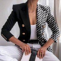 Women's Suits & Blazers Women Blazer Fashion Print Double Breasted Autumn Winter Lapel Long Sleeve Slim Jacket For Office