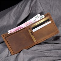 Wallets Men's Short Wallet Retro Genuine Leather Cowhide Crazy Horse Thin Cash Money Card Po Coin Purse Holder For Man Gift B199