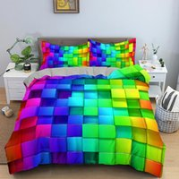 Bedding Sets 3D Colorful Modern Geometric Rainbow Swirl PrintedTwin Queen King Size Microfiber Bed Duvet Cover For Bedroom