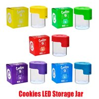 New Cookies LED Storage Jar Magnifying Stash Container 155ml Mag Jar Glowing Container Vacuum Bottle for Dry Herb Tobacco Gummies Edible