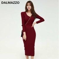 Casual Dresses DALMAZZO Women Fashion V Neck Pullovers Knitting Long Dress 2021 Est Autumn Korean Ladies Slim Buttocks Vestidos Clothes