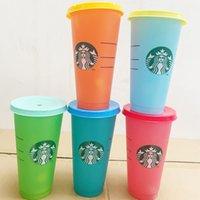 Star Bucks Tumblers Turchromic Cup Cold и изменчивая пластичная смена цвета соломинки PP материалы чашки 5 шт. Установите красочные
