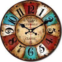 Relógios de parede Relógio Vintage Cozinha Decorativa Silenciosa Redonda Cor Bloco Árabe Numverais Classic Home Garden Decoração