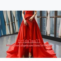 Women Jumpsuits Red Satin Long Prom Dresses 2019 Elegant Off-Shoulder Formal Evening Gowns Lace Up Back Party Dress Celebrity Pageant Gowns