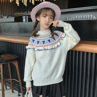 Pullover Beauty Girls Clothes Knitted Sweaters Kids Ruffles Jacquard Pullovers Fashion Autumn Winter Children Clothing Girl Warm Knitwear