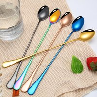304 Stainless Steel Long Handle Spoon Creative Coffee Ice Mixing Spoons Kitchen Tool 6 Colors T500712