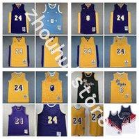 "Erkekler Los ""Angeles"" Lakers ""Basketbol Forması 8 + 24 Retro Black Mamba KB"" Bryant Mitchell Ness ""NBA"" Formalar"