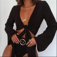 High Quality Fashion Casual Womens Shirts Tank Flare Long Sleeve Black Crop Top Bandage Tie Front Shirt Outwear