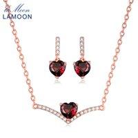100% naturel pierre précieuse grenat grenat de coeur 925 en argent sterling bijoux de bijoux fins pour femmes boucles d'oreilles v004-5 bracelet, collier