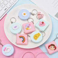 30 Styles Portable Soft Tape Measure Keychain Square And Circle Cartoon Cute Measures Mini Ruler Girl-length Measuring Rulers Multi-function Key Chain