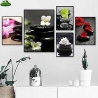 Pinturas YumeArt Wall Art Print Spa Black Zen Piedras Pintura Red Rosa Pink Blanco Orquídea Flor Cartel Cartel Cuarto de baño Decoración de la cocina