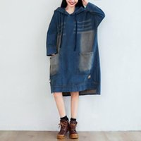 Spring Autumn Plus Size Casual Loose Solid Hole Pockets Long Sleeve Hooded Jeans Dress For Females Larger Cowboy One-Piece Dresses
