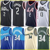 2 Kawhi Basketbol Leonard Jersey Giannis 34 Antetokounmpo Formalar Mens Paul 13 George Jersey Ucuz Satış Siyah Beyaz Mavi Yeşil