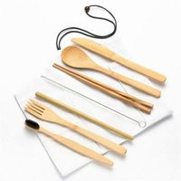 Dinnerware Sets Wooden Flatware Cutlery Set With White Cloth Bag Bamboo Straw Knives Fork Spoon Chopsticks And ToothBrush Tool Dining