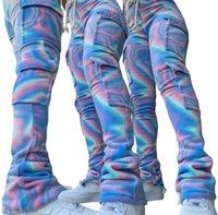 Pantalones Dobles Peluche Teñido Dye Dye Jogger Sweetpant Mujeres Alta Cintura Drawstring Pantalón Pantalón Pantalón Pantalón de invierno Lado Bolsillo Estástido Abajo Plus Tamaño