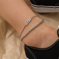 Women Anklets Chains 2PCS Sets Gold Silver Twisted Chain Year Number 1998 Pendant Punk Foot Chains Leg Bracelet Foot Jewelry 2999 Q2