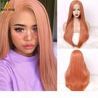 Aiva cheveux haute densité orange rose perruque résistant à la chaleur dentelle synthétique perruque avant perruque sans glutage longue perruque de cosplay droite pour femmes