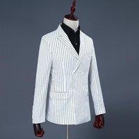 Men's Suits & Blazers Men Suit White And Black Stripe Groom Dresses Performing Breasted Smart Casual Slim Fit Regular Wedding