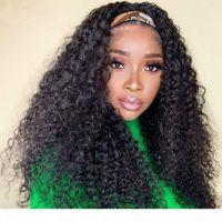 Water Wave Headband Wig Human Hair Wigs For Black Women Brazilian Scarf Wig No Gel Glueless Remy Curly Human Hair Wigs