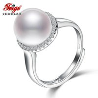 Cluster Rings High Quality Real 925 Sterling Silver Natural Freshwater Pearl Ring For Women Wedding Gifts Exquisite Fine Jewelry FEIGE