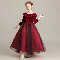2021 Flower Girl Dresses Jewel Neck Lace Appliques Tiered Skirts Girls Pageant Dress A Line Kids Baby Red Birthday Princess Gowns