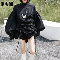 [Eam] mujeres blanca cordón grande tamaño blusa soporte collar manga larga fosa suelta camisa de la marea de la moda primavera otoño 2021 1Z189 blusas de las mujeres