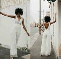 White Jumpsuit Dresses V Neck Lace Applique Boho Bridal Gowns Sexy Backless Country Wedding Dress Vestidos De Novia 2021