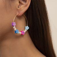 Korean Cute Colorful Candy Flower Big Hoop Earrings for Women Girls Sweet Statement Boho Earring Female Wedding Jewelry