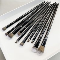 Pro olho maquiagem pincel conjunto 10-pcs preto eyeshaodw moldando contorno destaque labelo labial misturar ferramentas de beleza cosméticos
