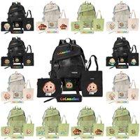 Cocomelon JJ Schultasche 4 Stück Cartoon Rucksack Set Kinder Kind Schultertasche + Handtasche + Geldbörse Münzbeutel + Bleistiftkoffer Buch Pack Taschen G31906