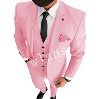 Handsome Two Buttons Groomsmen Notch Lapel Groom Tuxedos Mens Wedding Dress Man Jacket Blazer Prom Dinner suits (Jacket+Pants+Tie+Vest) W752