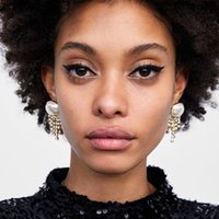 Short Irregular Rhinestone Crystal Tassel Earrings For Ladies Pearl Top Shiny Luxury Ear Jewelry Wedding Decor ET932 Dangle & Chandelier