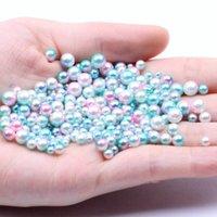 Nail Art Décorations Petit Pack 4mm 1000PCs Couleur arc-en-ciel Pas de trou ronds perles imitation Robes DIY bijoux