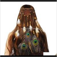 US Warehouse Hippie Dreamcatcher Cadenas de cabeza Cadenas Boho Tocado tribal con cuentas Accesorios de banda de pavo real VKSCA DIEADA B0DNR