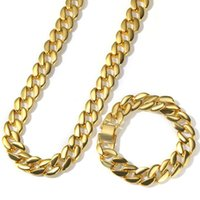 Earrings & Necklace Miami Cuban Link Chain Bracelet Set Gold Silver Color Men's Hip Hop Jewelry Sets Gifts
