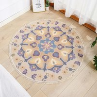 Carpets Ethnic Style Round Carpet Rug Cotton Linen Living Room Color Tapestry Study Bedroom Bedside Sofa Cushion Persian