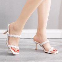 Dress Shoes Woman Pumps Summer Square Toe Sandals Ladies Mules 7CM High Heels Slippers Female White Lace Wedding