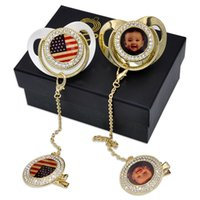Party Diamond Baby Pacifiers Sublimation Blank Sleeping Pacifier Food Grade Silicone Newborn Supplies DIY Photos With Anti-drop Chain