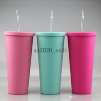 5pcs 16oz Matte Acrylic Cups Plastic Tumbler with Lids Clear Straws Double Wall Coffee Mug Reusable Cup