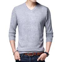 Мужские свитера Весна Осень Зимний Мужской свитер V-образным вырезом Мода Trend Trend Trand Fit T-Рубашка Топ