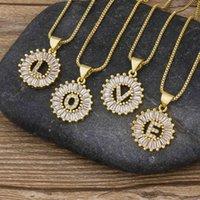 26 unids / lot entero A-Z letras iniciales collar de oro plata color cadena collares cz cristal colgante nombre joyería regalo