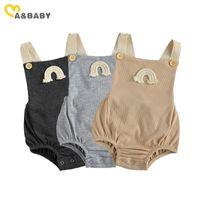 Mababy 0-18m verano infantil nacido bebé niña arco iris mamelucal mono mono mono sin mangas ropa linda 210729