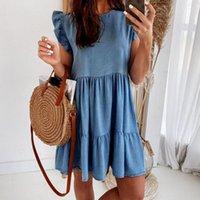 Casual Dresses Summer Sleeveless Solid Color Cake Dress All Match O-neck Ruffle Hem Loose Mini Women Clothing Ladies