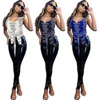 Kadın Moda Tasarımcısı 2021 Yaz Düz Hip Hop Kaju Çiçek Dişli Yelek Seksi Giyim Sokak Giyim Gece Kulübü Kıyafet D1283