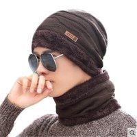 Hats, Scarves & Gloves Sets 2021 Women Men Camping Hat Scarf Set Winter Plus Velvet Warm Hats Baggy Wool Fleece Cap + Neckerchief Boys Girl