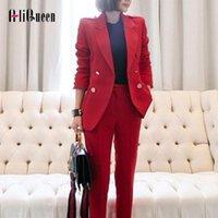 Abiti da donna Blazer Aliqueeen 2 pezzi set tuta autunno rosso elegante moda doppio pulsante OL Notched bussinessine ufficio lady blazer pantaloni
