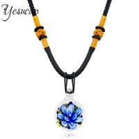 Pendant Necklaces Yesucan Fashion Necklace Glass Flower Rope Chain Neckalce Choker Crystal Christmas Gift Cords Luxury Women