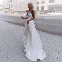 Designer Bohemian Wedding Dress 2022 Sexy Criss Cross Back Spaghetti Straps Soft Outdoor Bridal Gowns Summer Beach Marriage Dresses Modern Lady